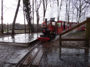 No7 'Sandy River' hauling a train at Monks Brook during a very wet February Half term