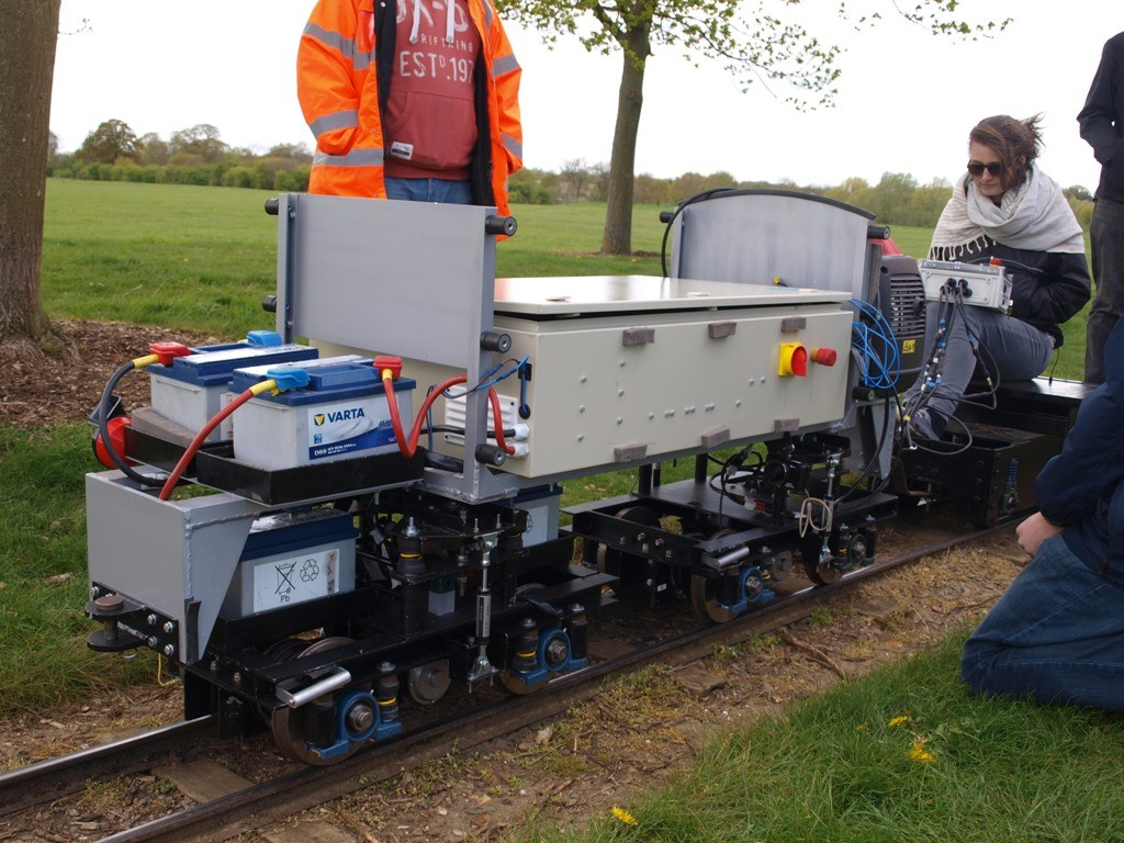 The Interfleet team testing at Ferry Meadows Railway in preparation for the 2015 IMechE Challenge. Picture by Dave Coging.