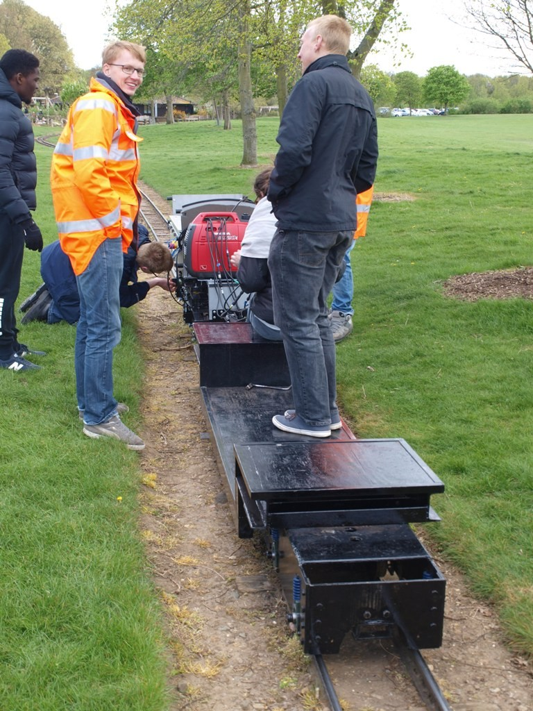 The Interfleet team testing at Ferry Meadows Railway ready for the 2015 IMechE Challenge. Picture by Dave Coging.