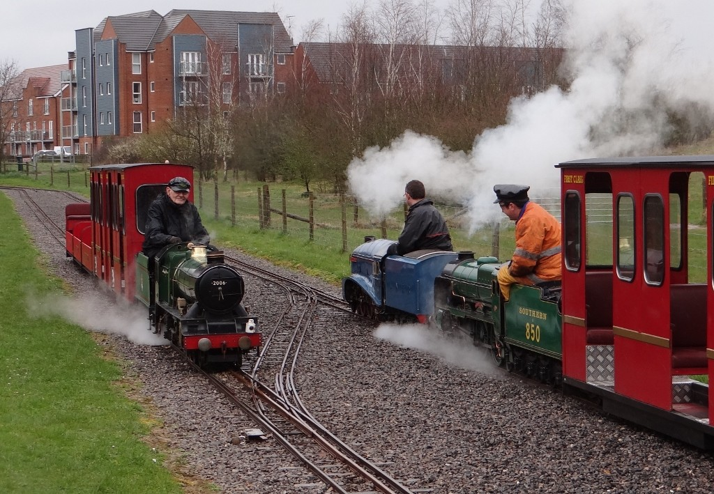 Trains passing... Bullock built No 2005 'Edward VIII'  passing 4-6-2 Pacific No 4498 'Sir Nigel Gresley' double heading with Lord Nelson 4-6-0 No 850 'Lord Nelson' Spring Steam Gala 2015. Picture by Lionel Kay.