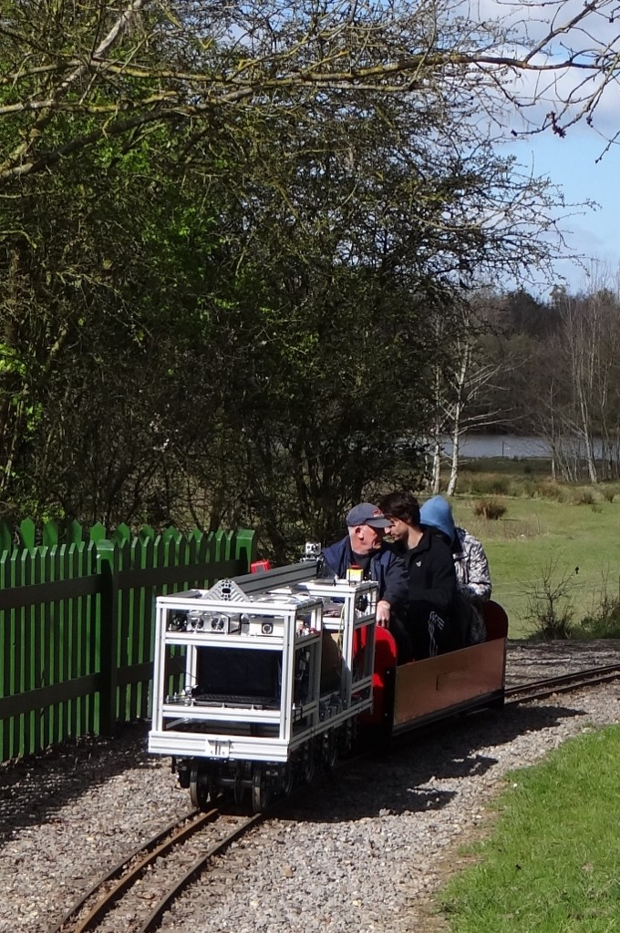 University of Southampton Faculty of Engineering students' project petrol electric locomotive hauling a train at Lakeside March 2015. Picture by Lionel Kay.