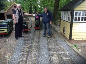 """Left to right in the photo at the original Haven Road terminus, Aidan Favell's Hymek """"D7054""""' Neal Catterall's Burry Port, Bob Symes' 14XX """"Rosie"""", Phil's Atlantic and G & N Catterall's """"Ayreshire Yeomanry"""". The newly installed signal box arrived recently from the soon-to-be-closed Birchley Railway."""